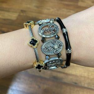 Set of 3🖤 silver gold tone cross bracelet bangle